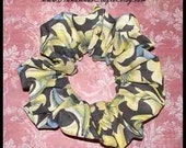 Old World Floral Scroll Hair Scrunchie, Large 80's Style Fashion Ponytail Holder, Adult Cotton Blend Hair Tie