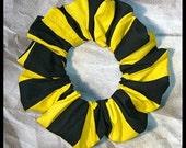 Black/Yellow Stripe Hair Scrunchie, Fabric Ponytail Holder, Sport/School Colored Hair Tie