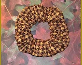 Gold/Brown Houndstooth Check Hair Scrunchie, Fall/Autumn Adult Glen Plaid Ponytail Holder