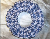 Houndstooth Hair Scrunchie, Denim Pattern Hair Tie, Casual Glen Plaid Ponytail Holder, Denim Blue
