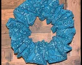 Aqua/Teal Bandanna Hair Scrunchie, Bandana Series Ponytail Holder, Fun Summer Colored Hair Tie