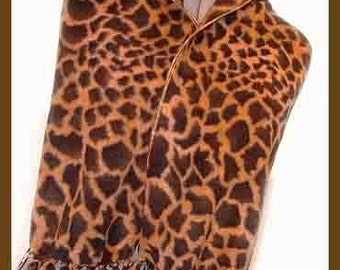Brown Giraffe Print Fleece Scarf, Wild Animal Neck Scarf, Exotic Faux Fur Fabric Muffler