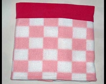 Pink Checkered Fleece Neck Warmer, Two Color Buff, Gaiter, Sport Pull Over Style, 11 x 22