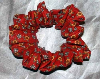 Tiny Sunflower with Plaid Patches Hair Scrunchie, Brick Red Hair Tie, Fall/Autumn Ponytail Holder, Adult Large, Thick Hair Accessory