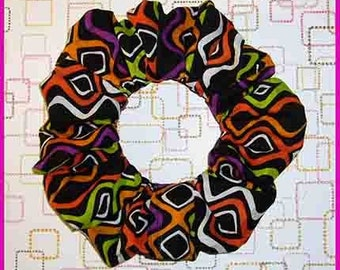 Retro Diamond Stripe Hair Scrunchie, 70's Style Print Themed Ponytail Holder, Hair TIe