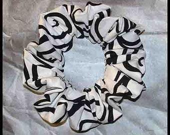white with Black Swirls Hair Scrunchie, Designer Fabric Ponytail Holder, Micheal Miller Ironworks Collections