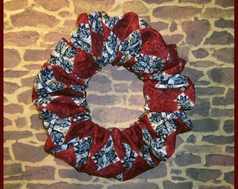 Floral Mosaic Tiles Hair Scrunchie, Red/White/Blue Themed Ponytail Holder, Hair Tie