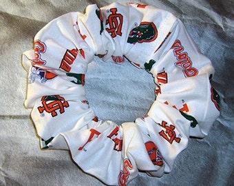University of Florida Hair Scrunchie, Gators White Ponytail Holder, College/School/Sport Hair Tie