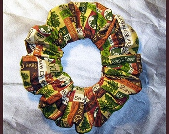 Earth Day Hair Scrunchie, Keep It Green Ponytail Holder Save The Rain Forest Hair Tie, Recycle (Brown)