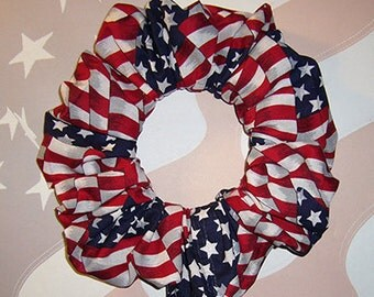 Patriotic Hair Scrunchie, Themed Hair Bunting, Holiday Hair Tie, Ponytail Holder, American Flag Bunting