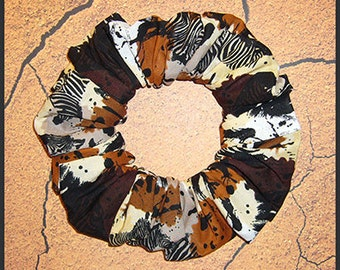 Safari Splatter Hair Scrunchie, Zebra/Zebras Ponytail Holder, Spotted/Color Splattered Hair Tie