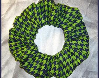 Houndstooth Check Hair Scrunchie, Fabric Hair Tie, Glen Plaid Ponytail Holder, Navy/Green