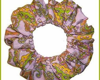 Paisley Series Hair Scrunchie, Floral Scrolls Hair Tie Ponytail Holder, Pink