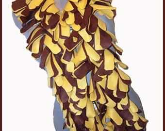 Gold/Brown Fleece Boa Scarf, 4 Layered Thick Muffler, Autumn/Fall Textured Neck Scarf