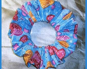 Valentine's Day Hair Scrunchie, Heart Themed Ponytail Holder, Heart Graffiti