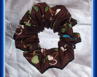 Cherries Hair Scrunchie, Designer Fabric Ponytail Holder, Fashion Hair Accessory, Brown