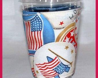 Patriotic Flair Cup Cozy, Wrap, Beverage Cover, Drink Sleeve
