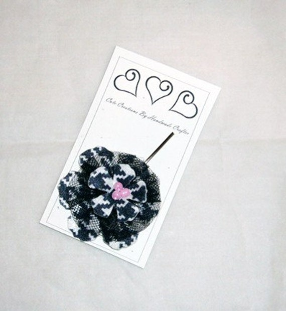 Pink/Black Hounds tooth Flower Hair Pin , Emo/Grunge/Punk Bobby Pin Accent