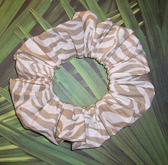 Zebra Hair Scrunchie, Neutral Color Hair Tie, Exotic Animal Print Ponytail Holder