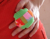 Soft Patchwork Pillow Ring - green
