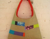 SALE - Patchwork Handbag - Gold and Stitched
