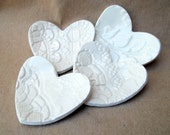 FOUR itty bitty Lace Heart Ring Bowls
