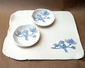 Ceramic Blue Bird Bread Platter with Dipping Bowls
