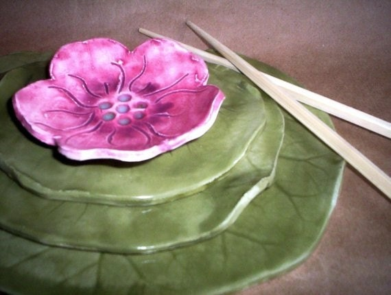 Ceramic Sushi Set Water Lily with Flower
