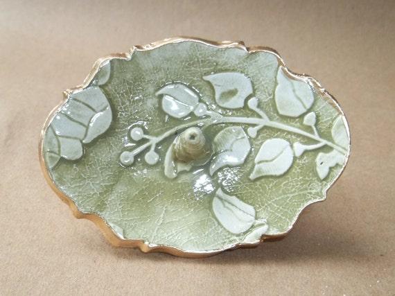 Green Damask Ceramic Ring Holder