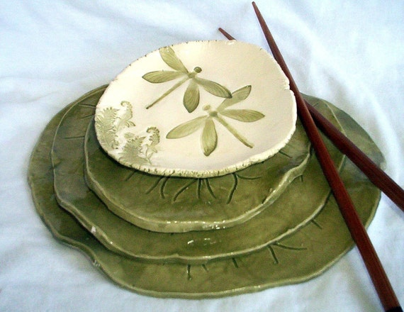 Hand Built Water Lily Sushi Set with dragonfly dipping bowl