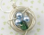 Classic Blue Nest De leaf Pendant Silver