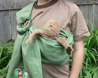 Sewfunky Doll Carrier- Toy Baby Sling for Kids - Hemp/Organic Cotton Adjustable Gnomes