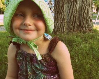 Sewfunky Sun Bonnet - Organic Green Kaleidoscope