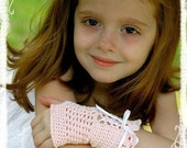 PDF PATTERN NEW Pink Ruffle Princess Fingerless Gloves Child and PreTeen Sizes included Newly Revised