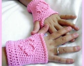 PDF PATTERN Pink Heart Fingerless Glove Crochet Childs Size