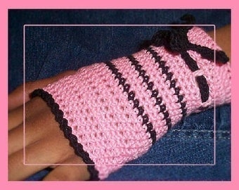 PDF PATTERN Pink and Black Crochet Fingerless Gloves Childs Size