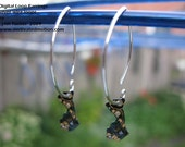 Digital Loop- Circuit board Earrings -silver wire drop 1.5inches- boards .5inch