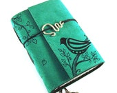 Handbound leather journal, Suede, Bird
