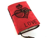 Handmade leather journal,  Suede,  Love