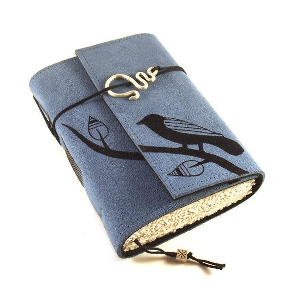 Journal, Leather,  Blue, Notebook: Black Bird