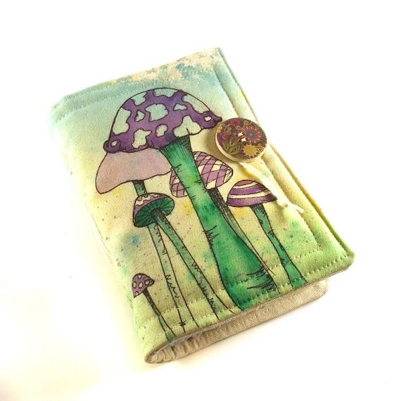 Journal, Notebook, Diary, Painted Fabric, Purple Mushrooms