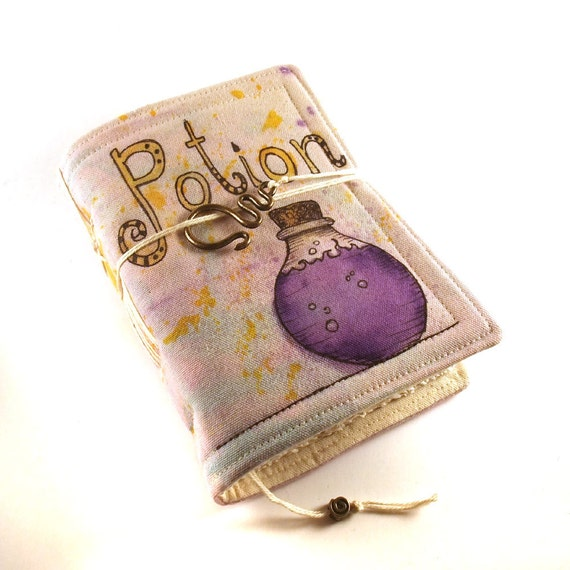 Journal, Notebook, Diary, Painted Fabric, Purple Potion