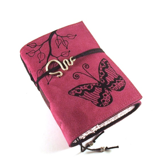 Handmade leather journal,  Suede: Butterfly