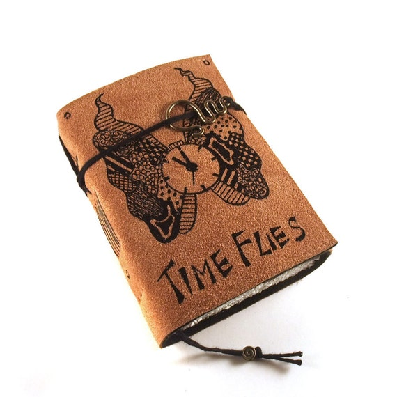 Leather Journal, Handmade, Painted: Time Flies