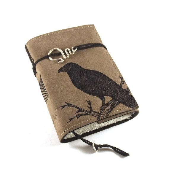 Black Bird, leather journal, diary, handbound