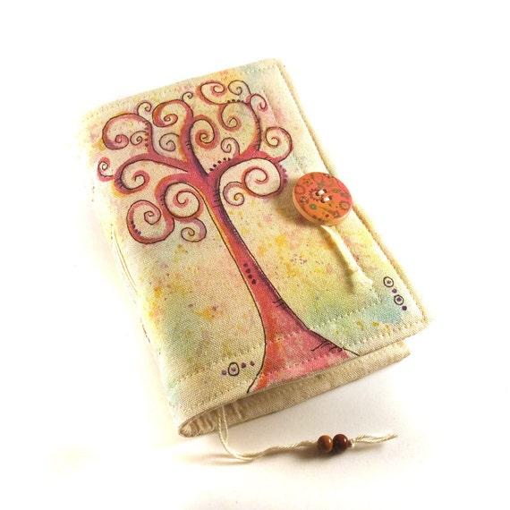 Journal, Notebook, Diary, Painted Fabric, Swirl Tree