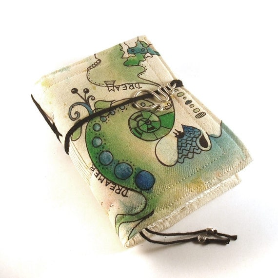 Journal, Notebook, Diary, Painted Fabric, Dreamer