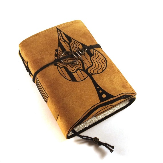 Leather Journal, Blank, Bound, Golden Leaf