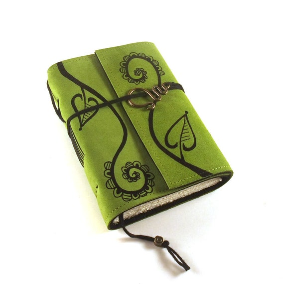 Leather journal, Green, Notebook: Swirly Plant