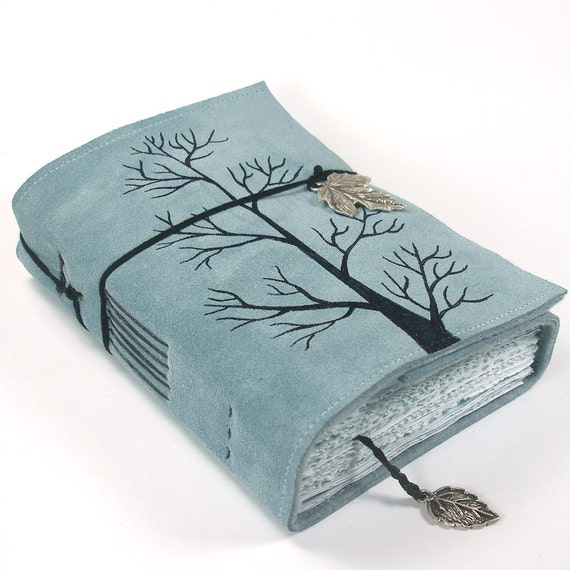 Winter Tree, Leather Journal, Notebook Suede